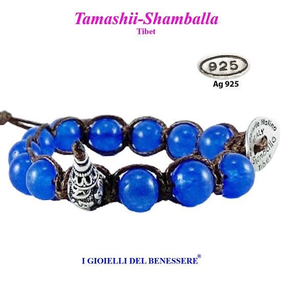 Bracciale Tamashii-Shamballa Agata Blu Oceano