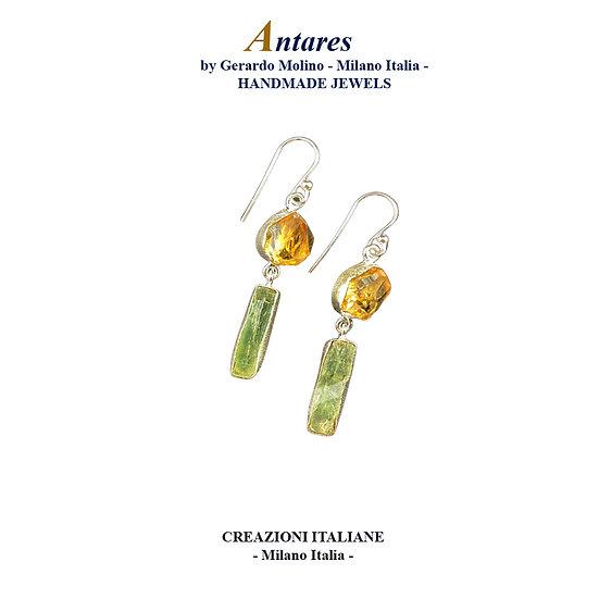 """Orecchini """"Antares"""" in Ag 925 con Quarzo Citrino e Cianite Verde"""