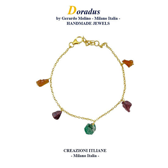 Bracciale in Argento 925 placcato Oro 750 con Smeraldo
