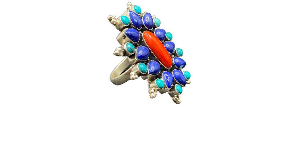Anello Ag925 con gemme naturali coralli, turchesi lapislazzuli