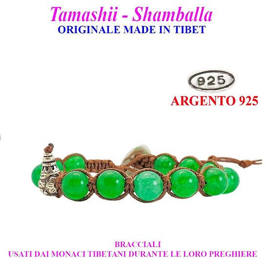Bracciale Tamashii-Shamballa Agata Verde Lago