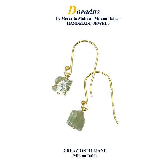 Orecchini in Argento 925 placcati Oro 750 con Cianite Verde