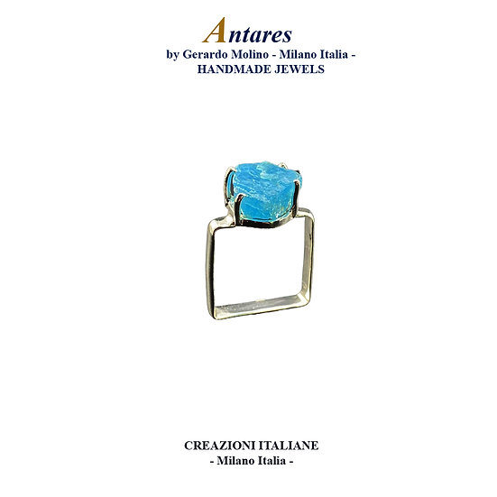 """Anello """"Antares"""" in Ag 925 con Apatite Neon"""