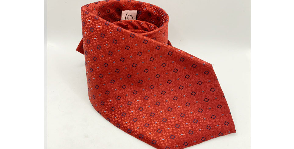 Cravatta Classica rifinita PUNTO A CROCE realizzata a mano in PURA SETA NATURALE