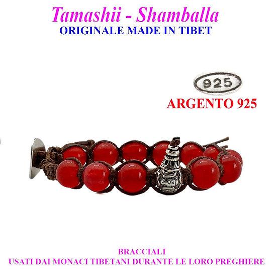 Bracciale Tamashii-Shamballa Agata Rosso Fuoco