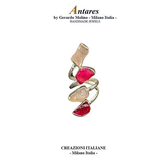 """Anello """"Antares"""" in Ag 925 con Rubino e Quarzo Rosa"""