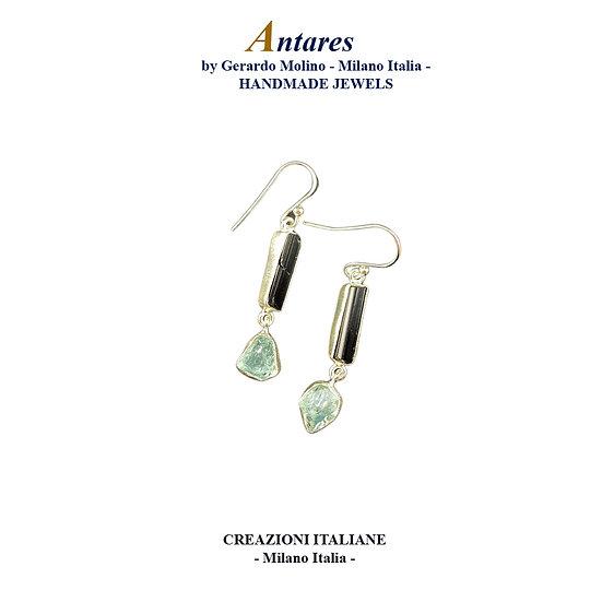 """Orecchini """"Antares"""" in Ag 925 con Tormalina e Acquamarina"""