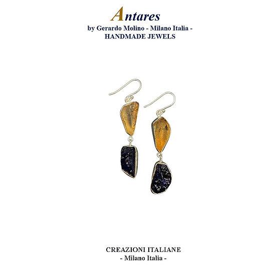 """Orecchini """"Antares"""" in Ag 925 con Zaffiro e Quarzo Citrino"""