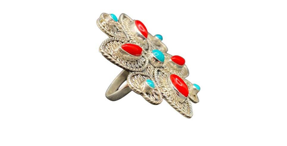 Anello Ag925 con gemme naturali coralli turchesi