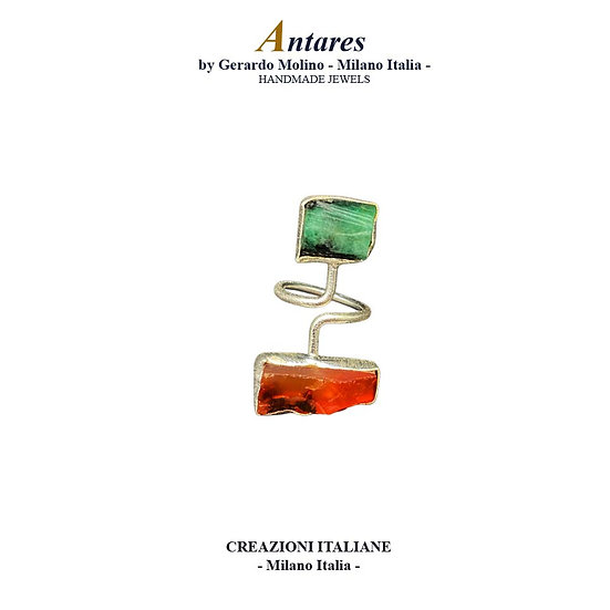 "Anello ""Antares"" in Ag 925 con Smeraldo e Corniola"