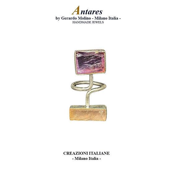 """Anello """"Antares"""" in Ag 925 con Ametista e Quarzo Rosa"""