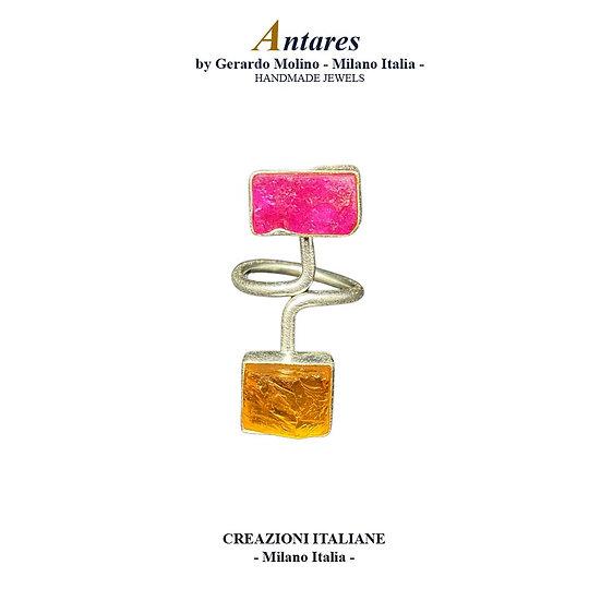 """Anello """"Antares"""" in Ag 925 con Rubino e Quarzo Citrino"""