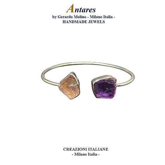"""Bracciale """"Antares"""" in Ag 925 con Ametista e Quarzo Rosa"""