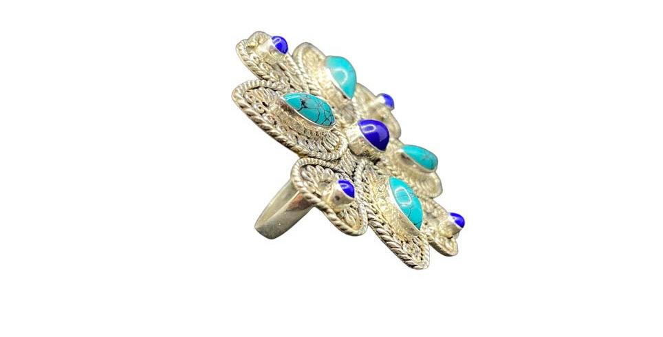 Anello Ag925 con gemme naturali turchesi lapislazzuli