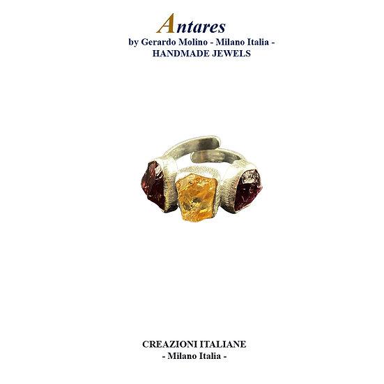 """Anello """"Antares"""" in Ag 925 con Granato e Quarzo Citrino"""