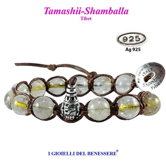 Bracciale Tamashii-Shamballa Quarzo Rutilato