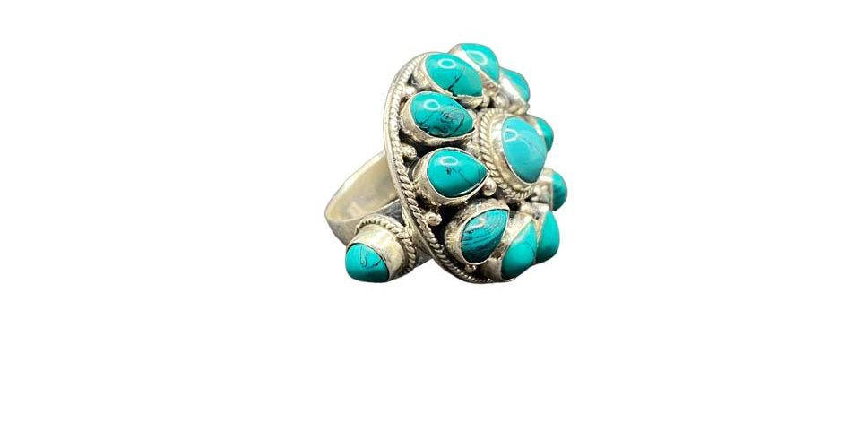 Anello Ag925 con gemme naturali turchesi