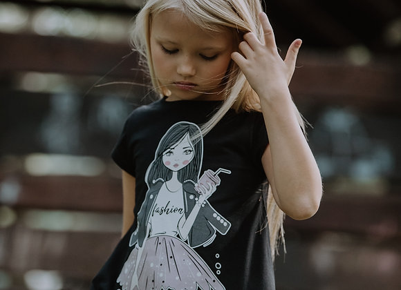 Black Tunic T-shirt with doll