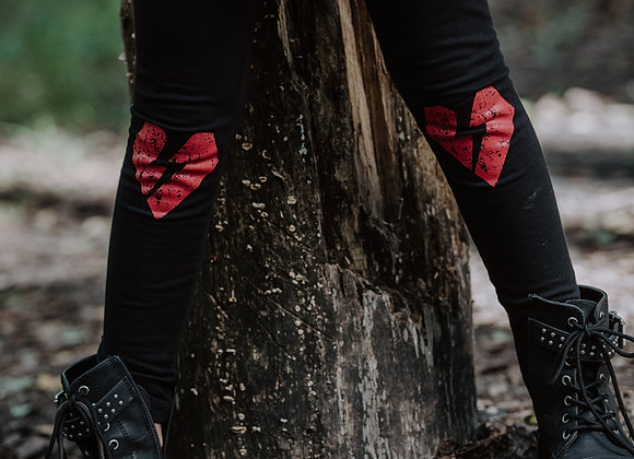 Black leggings with red heart