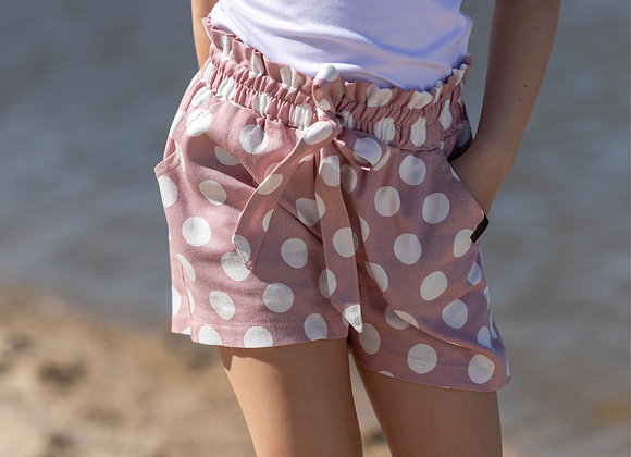 PINK SHORTS WITH WHITE DOTS