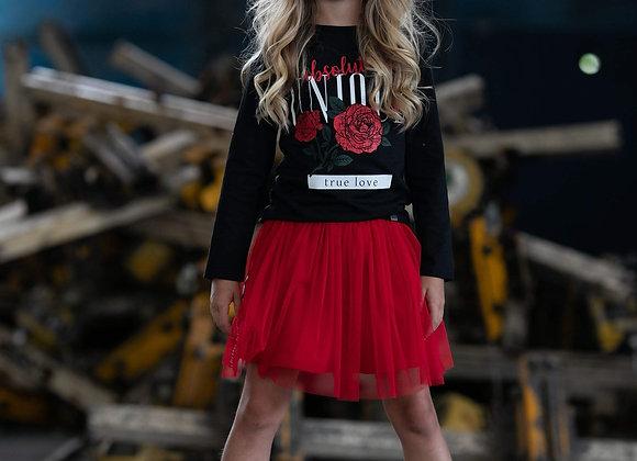 Girls' Red Soft Tulle Skirt