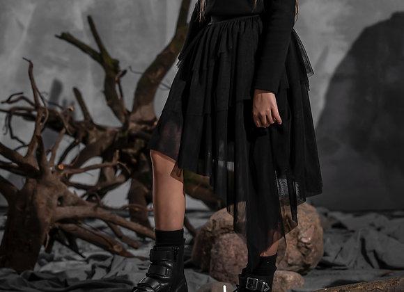 Asymmetrical Black Tulle Skirt