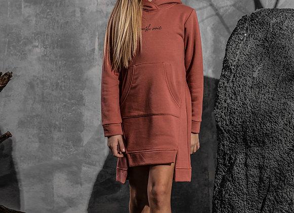"Coral dress with hood ""Mash Mnie"""