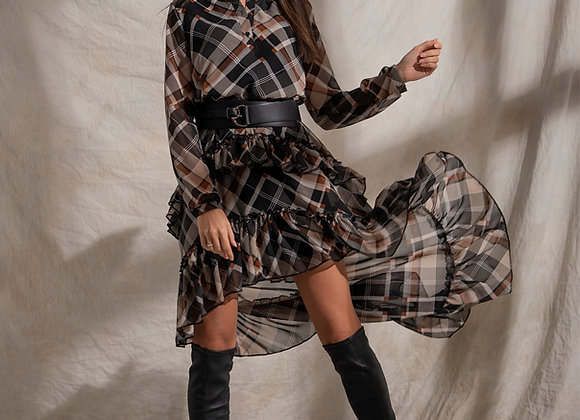 Dress black and brown checked with elongated back.