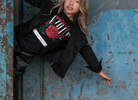 Girl Black Suedette Biker Jacket