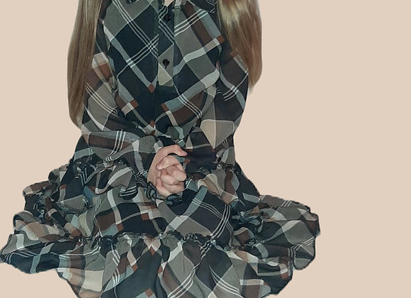 Dress in brown and black checked for daughter