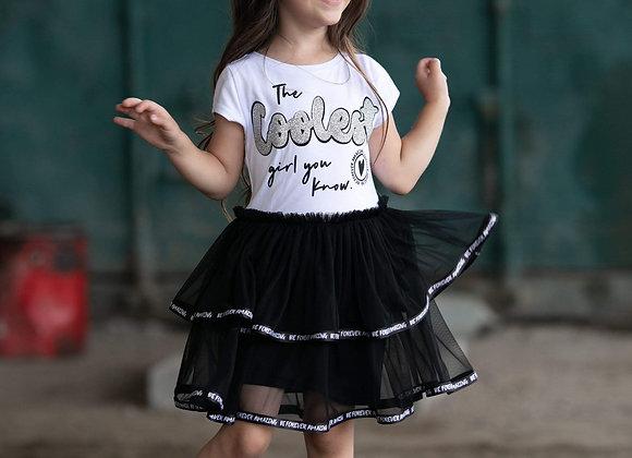 Girls White Cotton & Black Tulle Dress