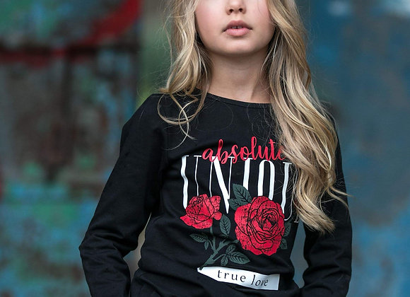 Black Long Sleeve T-Shirt with red flowers