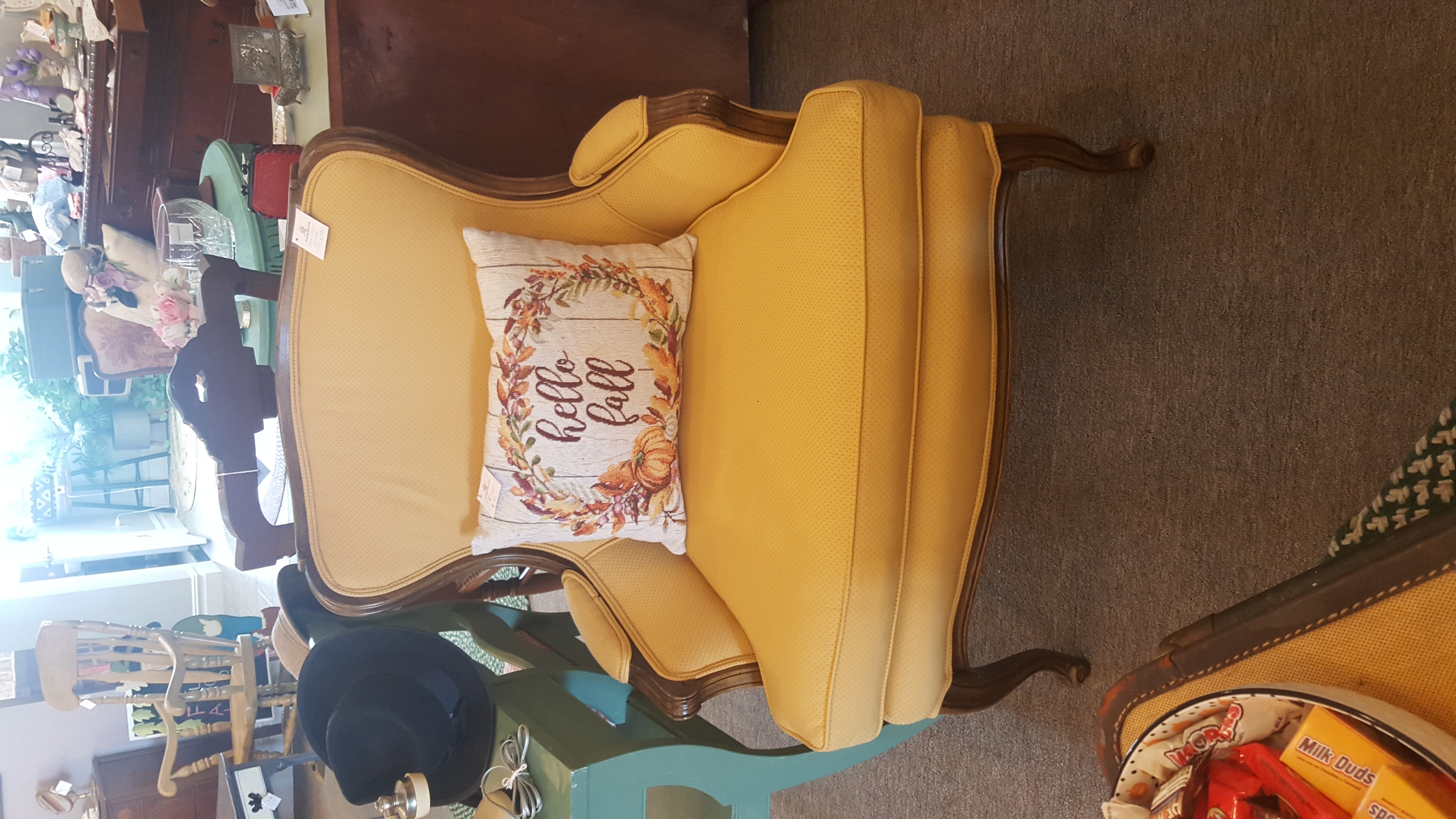Gold Chair with Mahogany Trim
