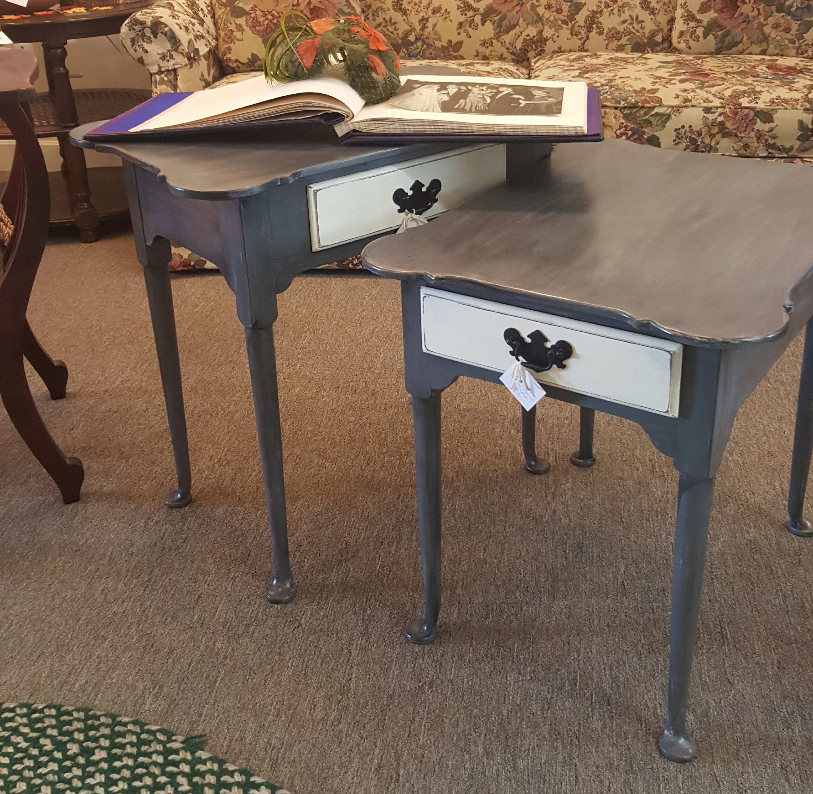 """SOLD 1 - """"1970's"""" TABLE - Hinkle-Young Side Tables  (GREY)"""