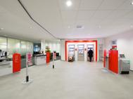 Bankenplanung, Funke Dorsten, Architektur,  SB-Bereich Sparkasse in Herten, Geldautomatenwand, Servicetheken