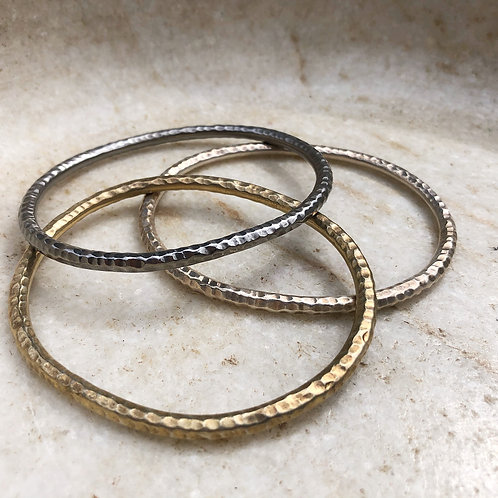 Silver, gold, rhodonite bangle bracelet