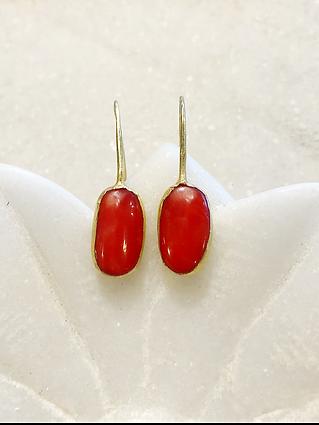 #93 Tibetan coral gold earrings .png