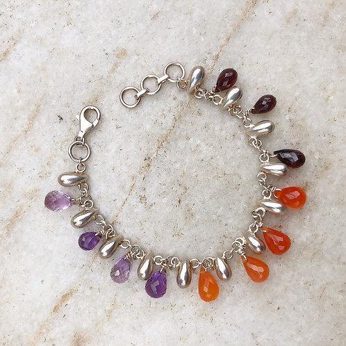 Multi-stone silver bracelet