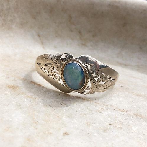 Rainbow moonstone silver cuff bracelet