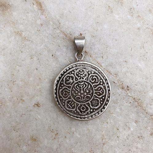 Tibetan coin silver pendant