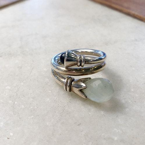 Twining silver aquamarine ring