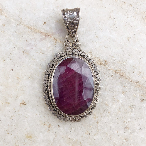 Burmese ruby silver pendant