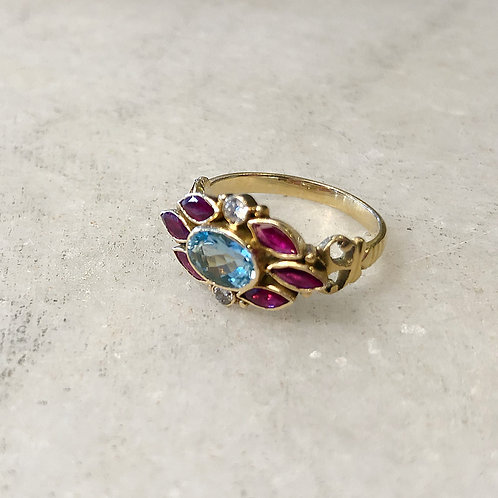 Aquamarine ruby diamond gold ring