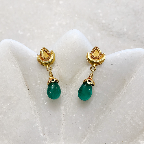 Emerald gold post earrings