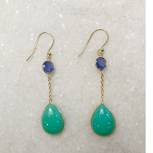 Tanzanite and chrysoprase dangle gold earrings