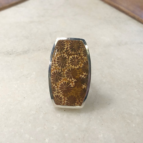 Fossil coral square silver ring