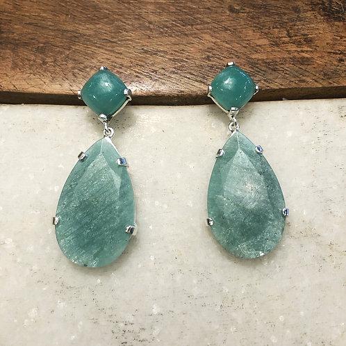 Amazonite and aquamarine silver earrings
