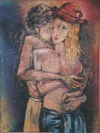 Lovers by Miho Ebanoidze (2000s), oil, canvas