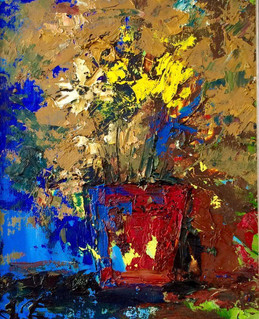 Flower by Miho Ebanoidze, oil, canvas. Private collection.