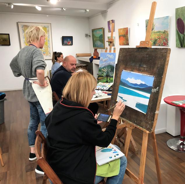 Adults' art class in MihoArt studio